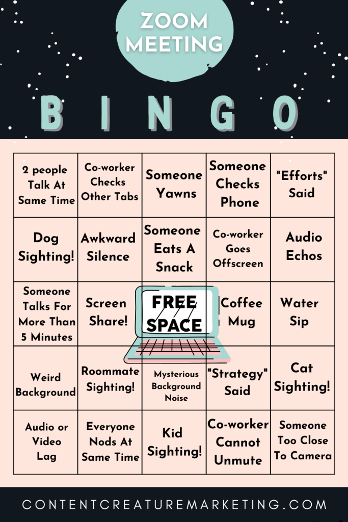 Zoom Meeting Bingo Card 2. Make your Zoom meeting more enjoyable and see if you can get a BINGO!