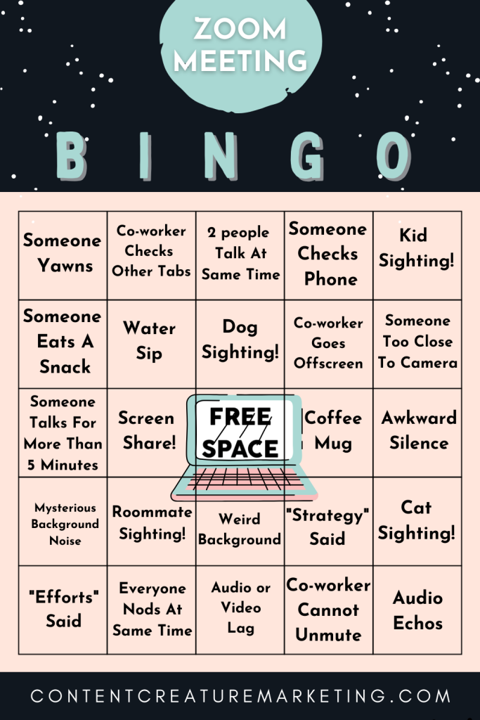 Zoom Meeting Bingo Card 1. Make your Zoom meeting more enjoyable and see if you can get a BINGO!